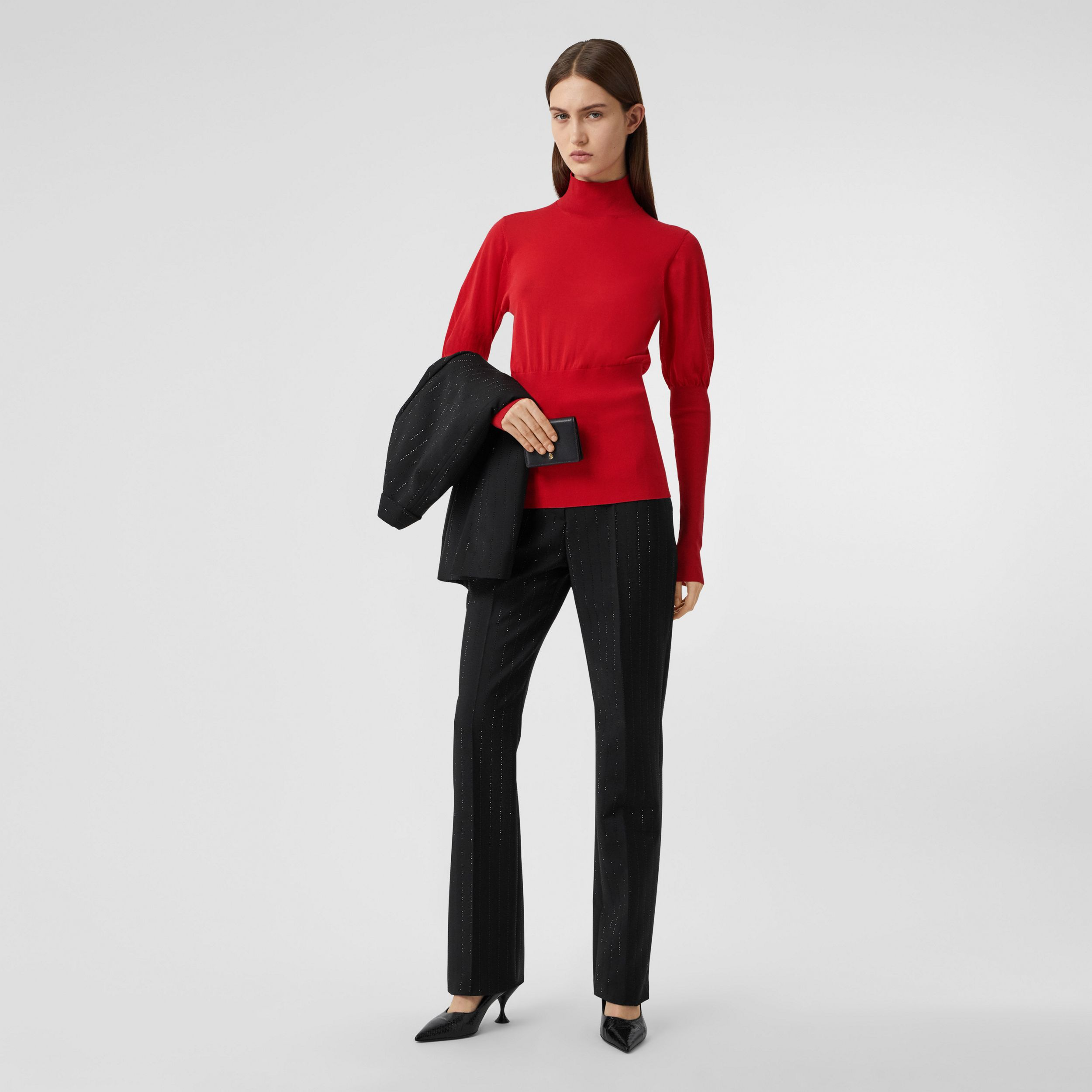 Puff-sleeve Knit Cotton Blend Turtleneck Sweater in Bright Red - Women | Burberry - 1