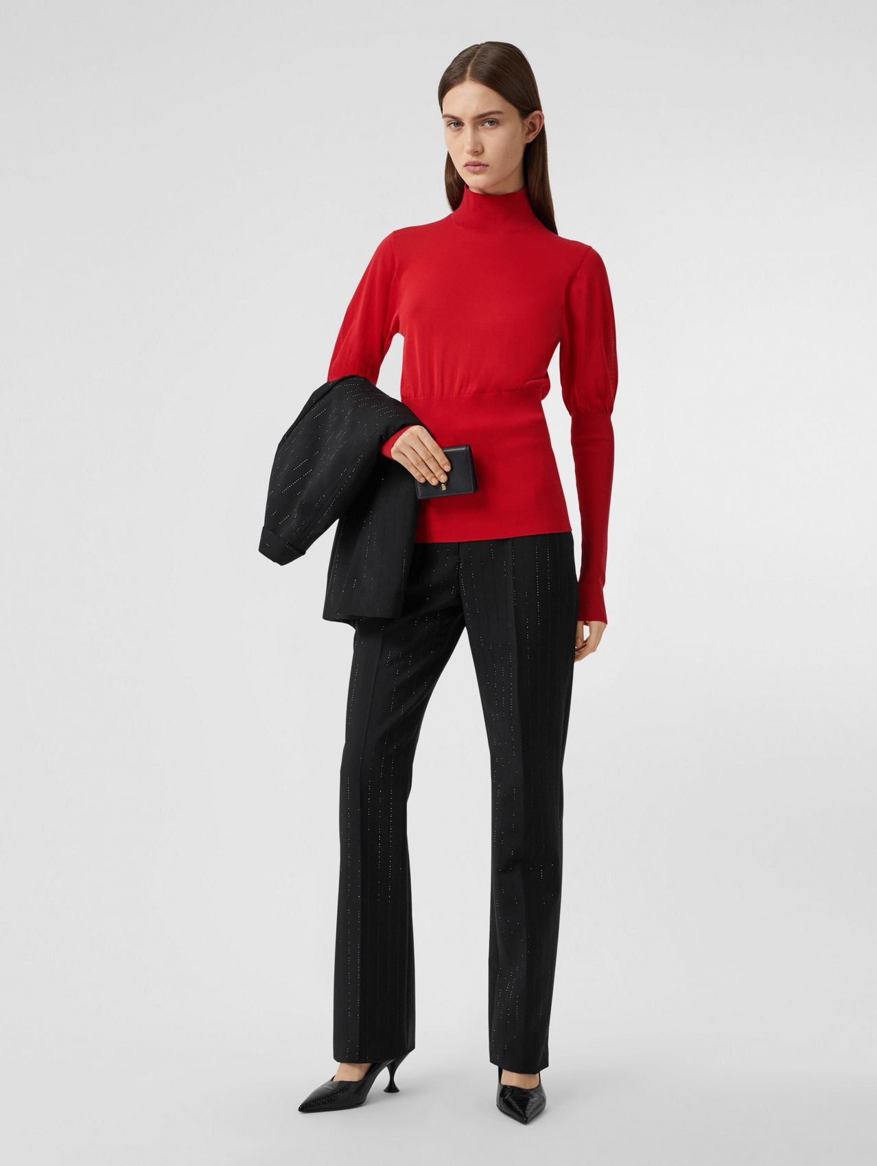 Puff-sleeve Knit Cotton Blend Turtleneck Sweater (Bright Red)