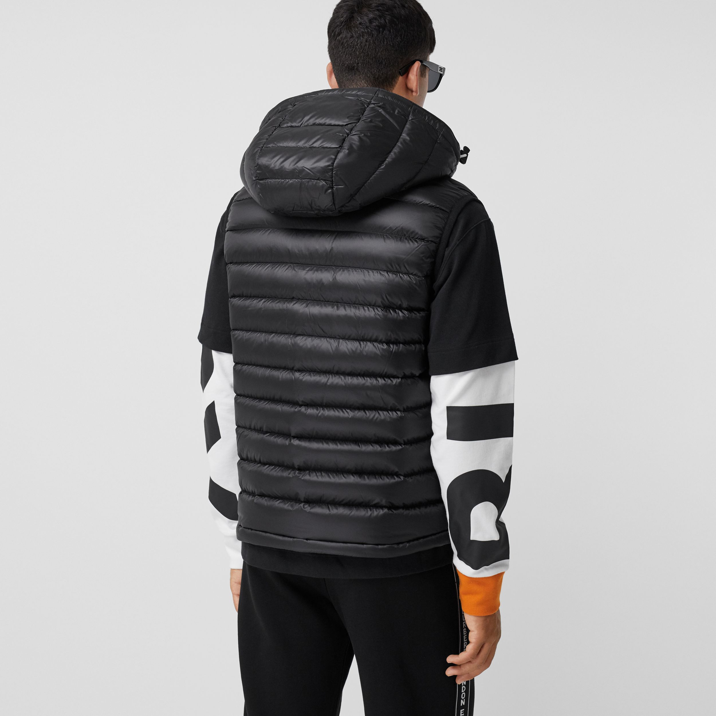 Detachable Hood Logo Appliqué Puffer Gilet in Black - Men | Burberry - 3