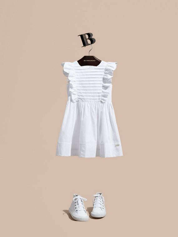 Ruffle and Pleat Detail Cotton Dress in White