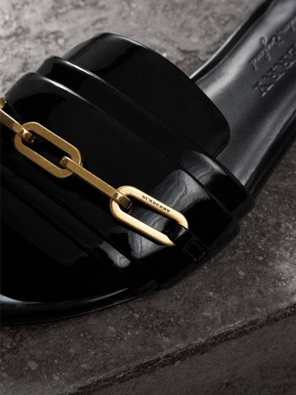 Link Detail Patent Leather Slides in Black - Women | Burberry - cell image 1