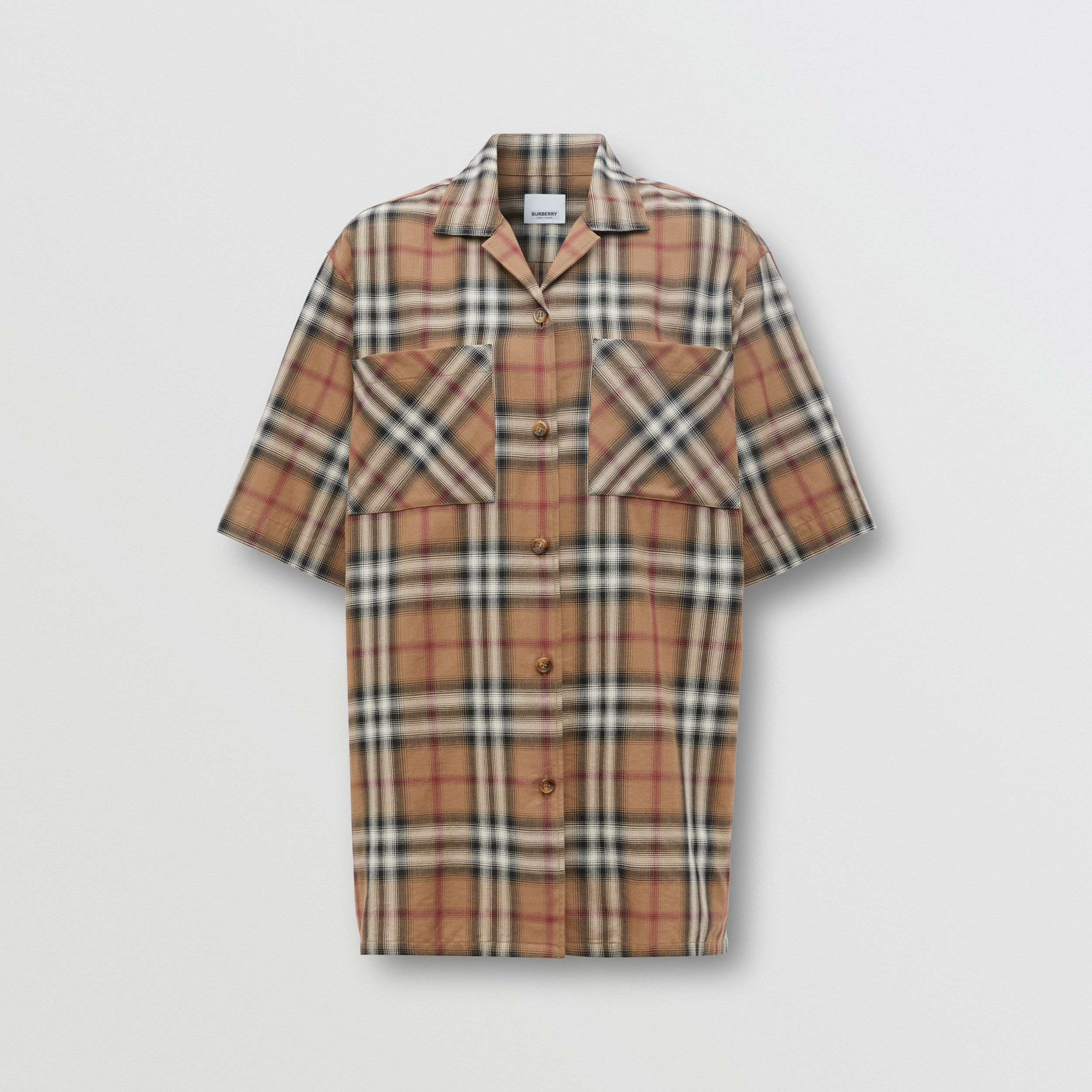 Ombré Check Cotton Twill Bowling Shirt in Birch Brown - Women | Burberry - 4