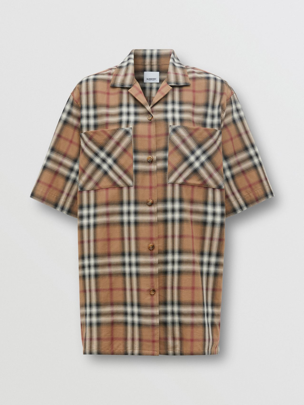 Ombré Check Cotton Twill Bowling Shirt in Birch Brown