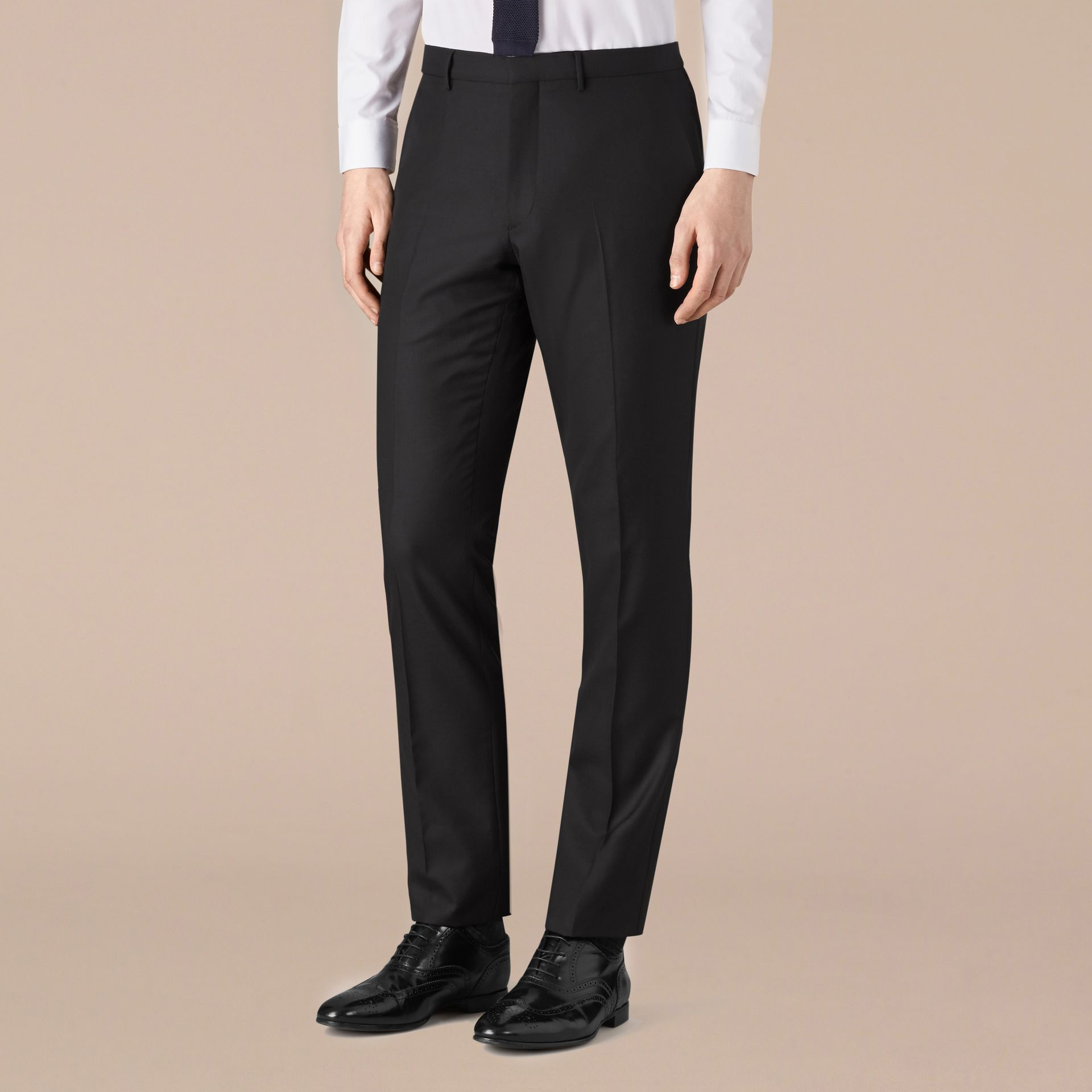 Black Modern Fit Wool Trousers Black - gallery image 1