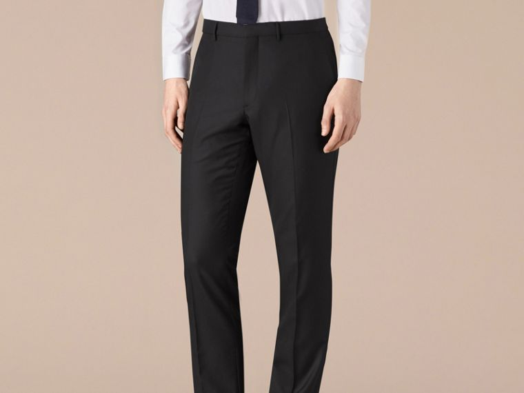 Modern Fit Wool Trousers in Black - Men | Burberry Hong Kong - cell image 1