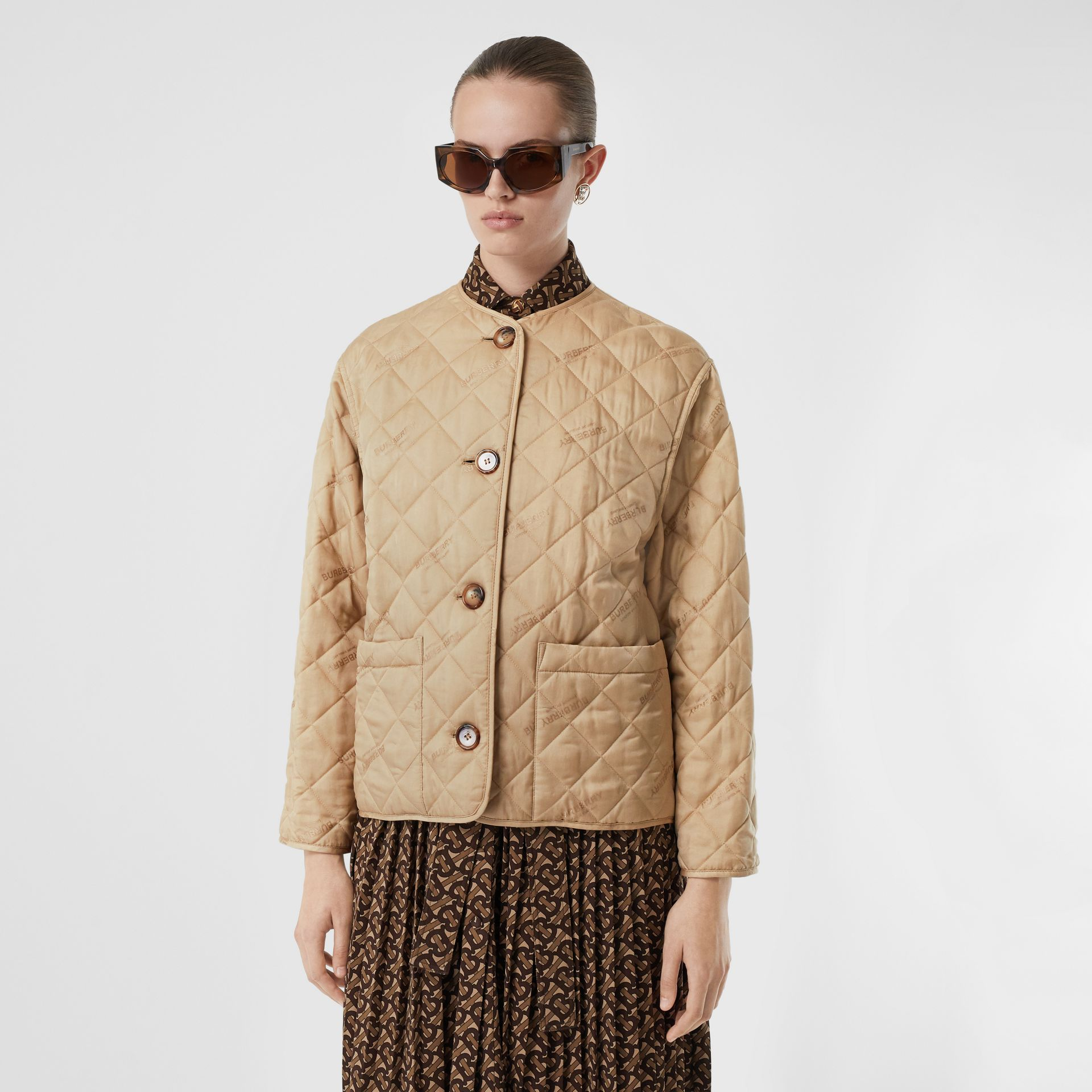 Logo Jacquard Diamond Quilted Jacket in Ecru - Women | Burberry Singapore - gallery image 5