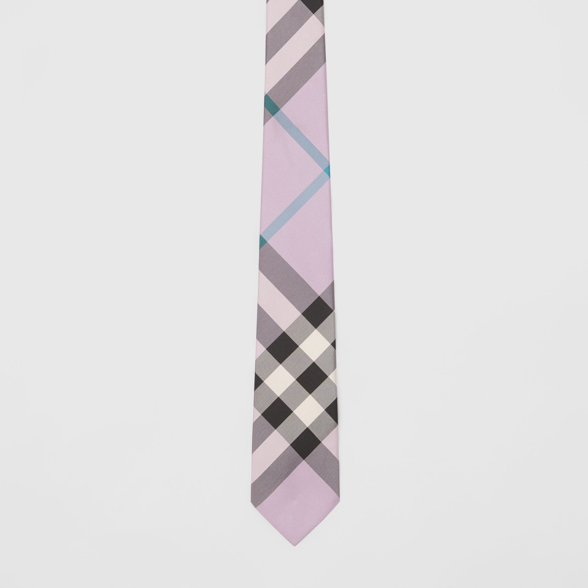 Modern Cut Check Silk Tie in Lilac - Men | Burberry Australia - gallery image 4