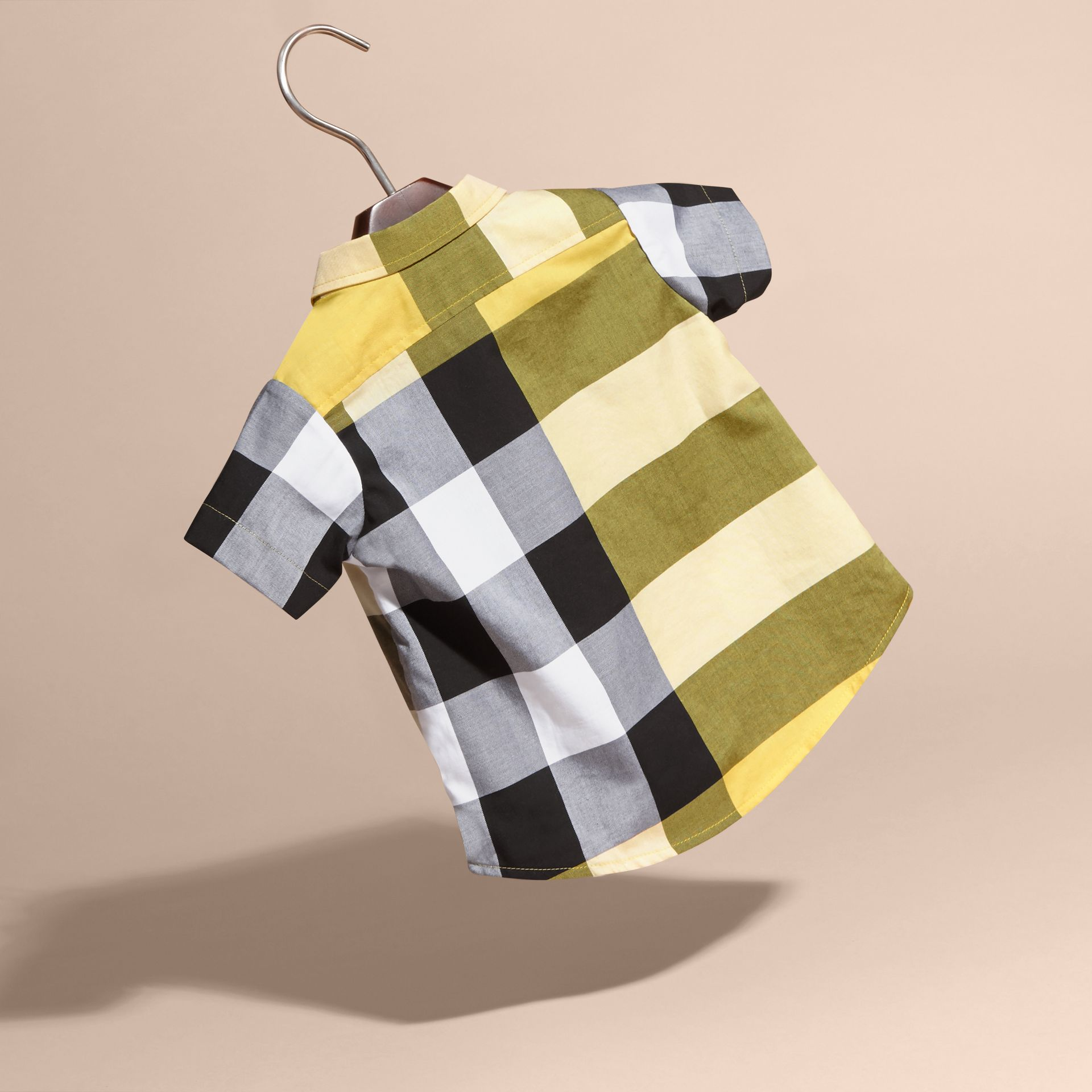 Short-sleeve Check Cotton Shirt in Bright Yellow - gallery image 4