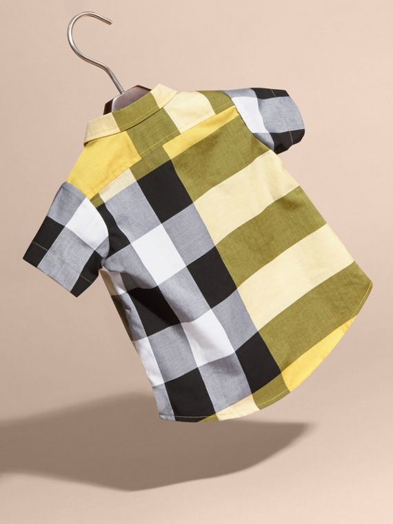 Short-sleeved Check Cotton Shirt Bright Yellow - cell image 3