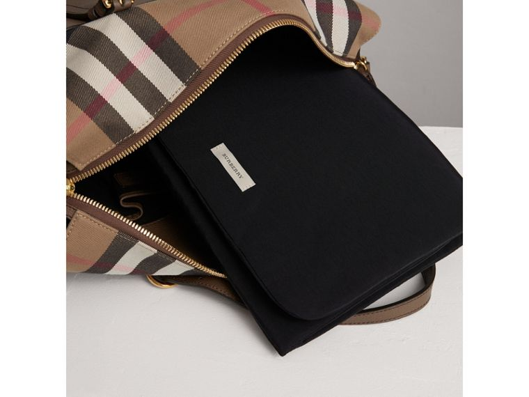 House Check and Leather Baby Changing Bag in Taupe Grey | Burberry - cell image 1