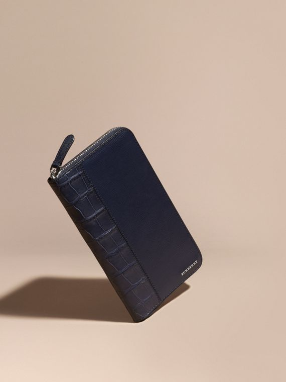 London Leather and Alligator Ziparound Wallet in Dark Navy