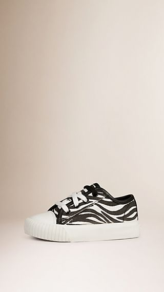 Zebra Print Canvas Trainers