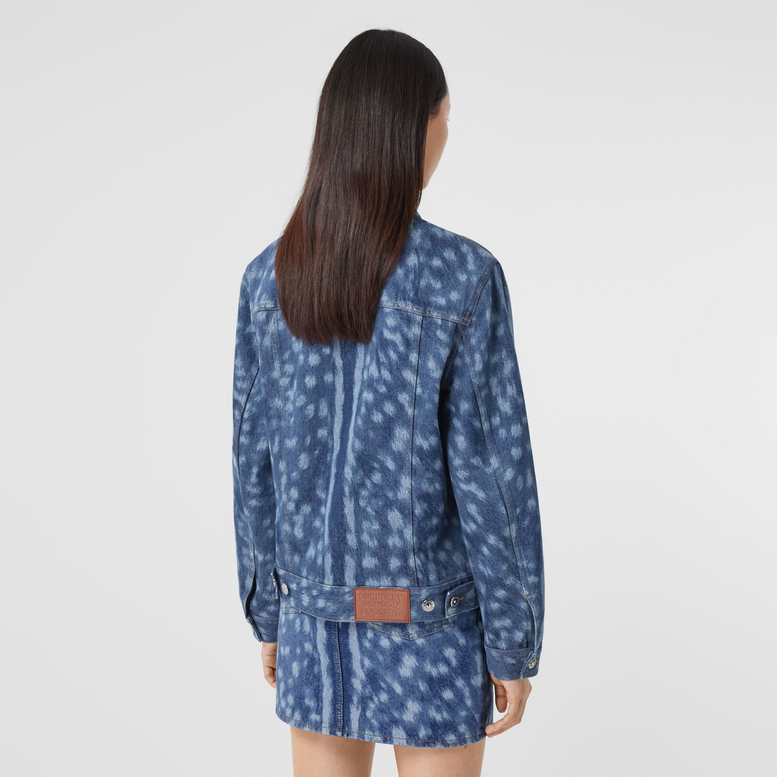 Deer Print Denim Jacket in Mid Indigo - Women | Burberry - 3