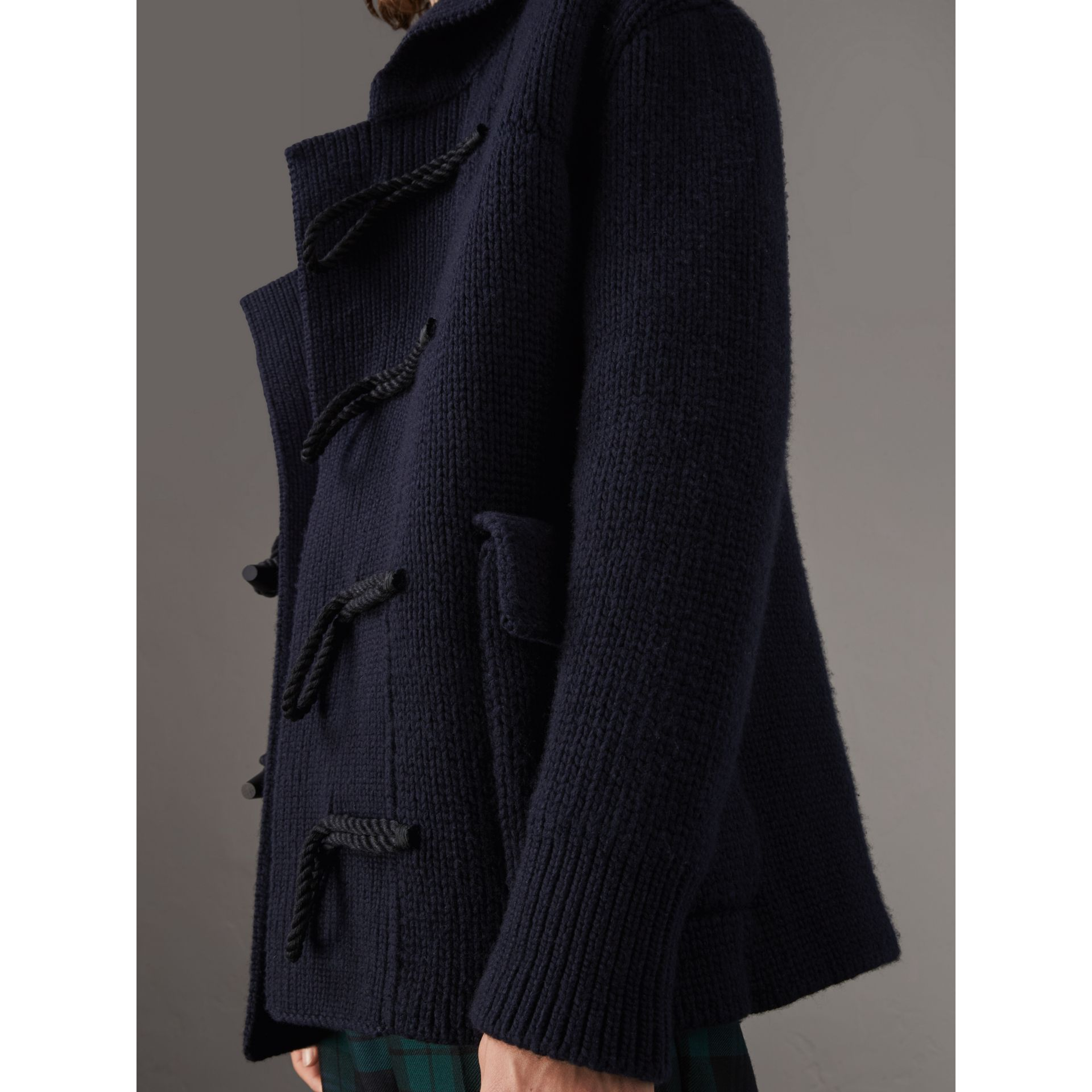 Knitted Wool Cashmere Blend Jacket in Navy - Men | Burberry Australia - gallery image 1