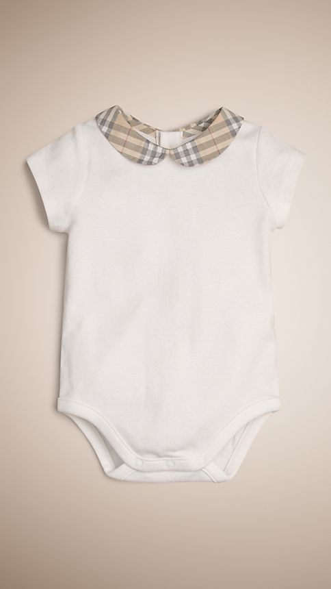 White Check Collar Bodysuit - Image 1