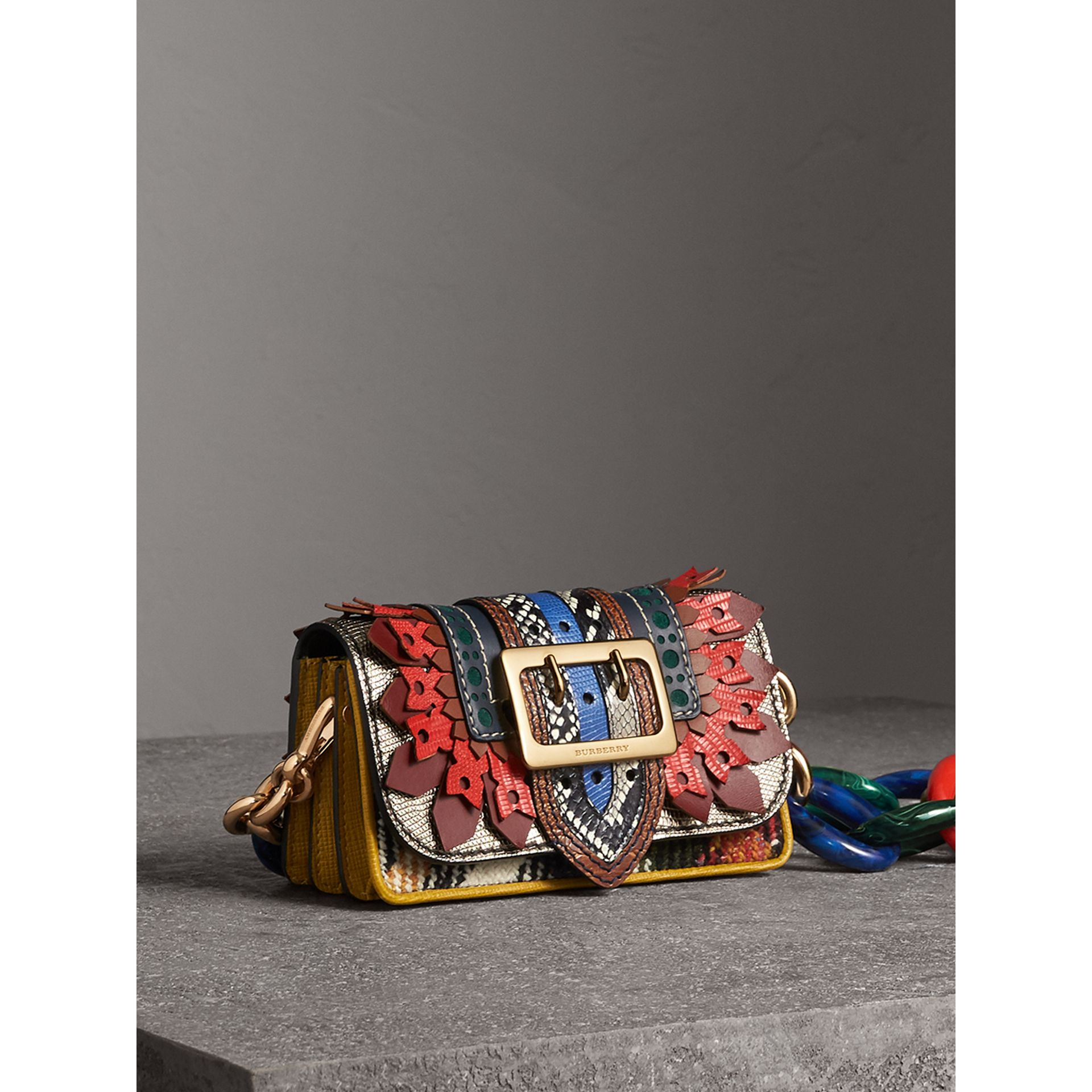 The Patchwork in Exotics and Punched Leather in Yellow/plum - Women | Burberry - gallery image 9