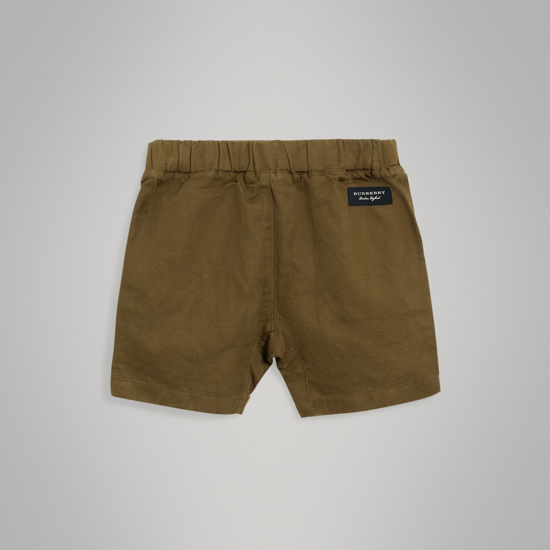 Drawcord Cotton Linen Twill Shorts in Olive | Burberry United Kingdom - gallery image 3