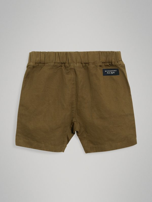Drawcord Cotton Linen Twill Shorts in Olive | Burberry United Kingdom - cell image 3