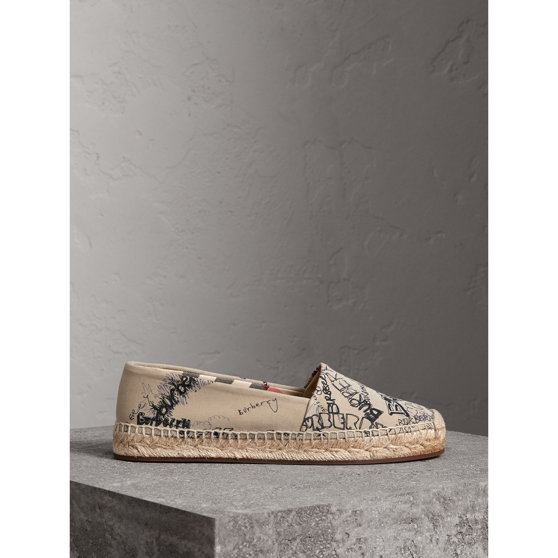 Doodle Print Cotton Gabardine Espadrilles in Honey - Women | Burberry - gallery image 4