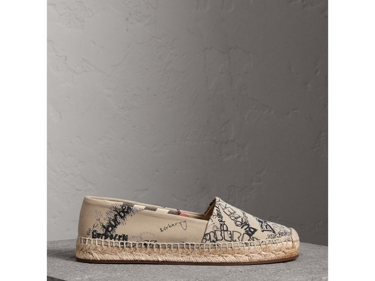 Doodle Print Cotton Gabardine Espadrilles in Honey - Women | Burberry - cell image 4