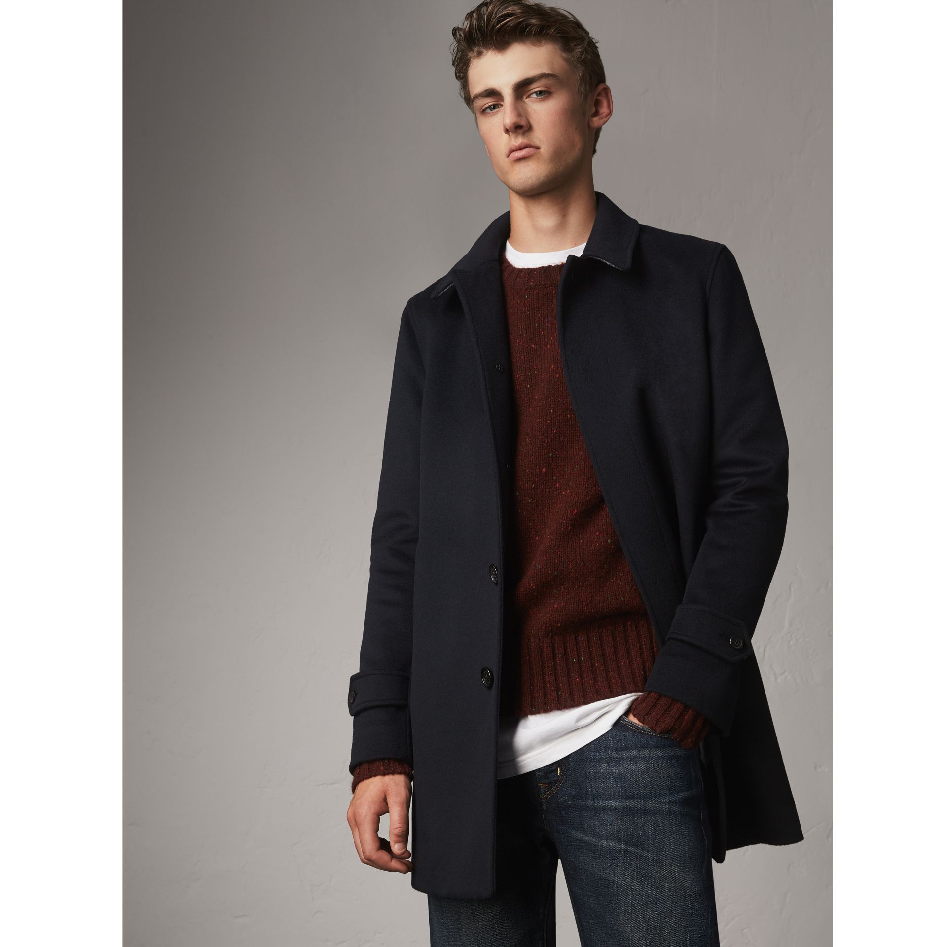 Wool Cashmere Car Coat in Navy - Men | Burberry - gallery image 0