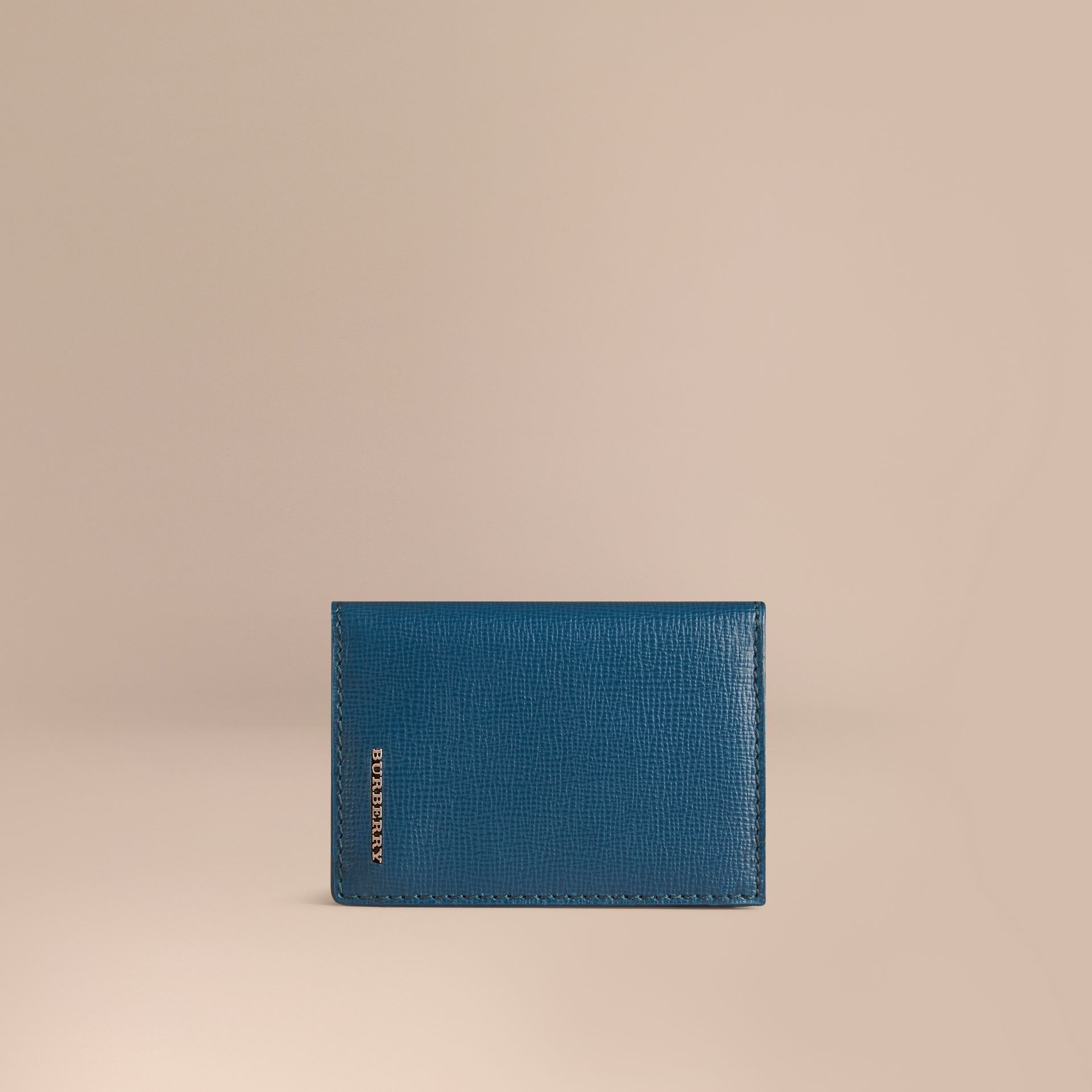 Mineral blue London Leather Folding Card Case Mineral Blue - gallery image 1