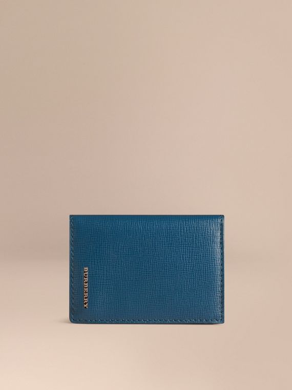 London Leather Folding Card Case Mineral Blue