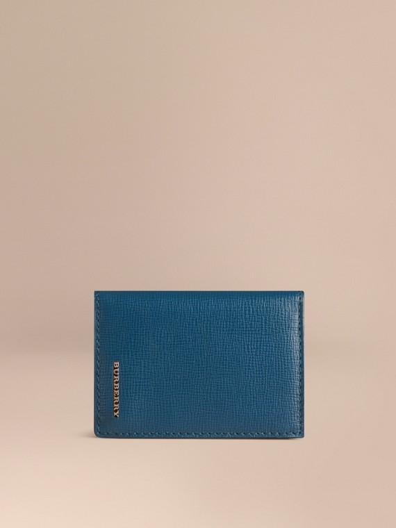 Porte-cartes à rabat en cuir London Bleu Minéral