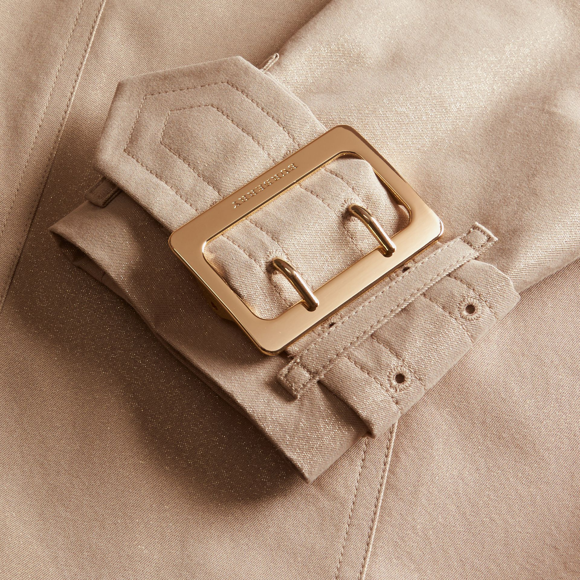 Nude gold Metallic Cotton Gabardine Trench Coat with Oversize Buckle Detail - gallery image 2