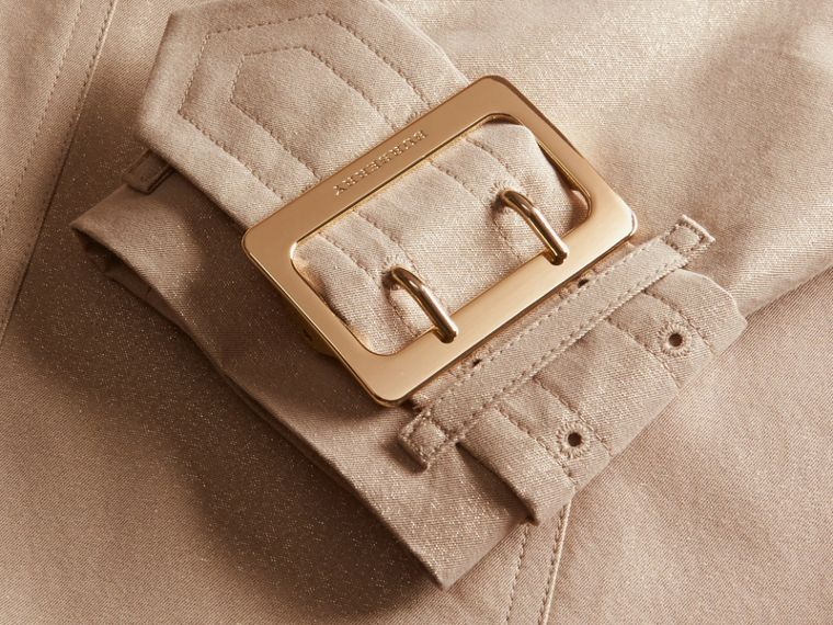 Nude gold Metallic Cotton Gabardine Trench Coat with Oversize Buckle Detail - cell image 1