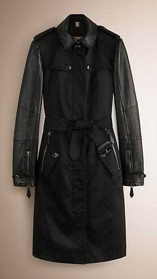 Lambskin-Sleeved Cotton Trench Coat