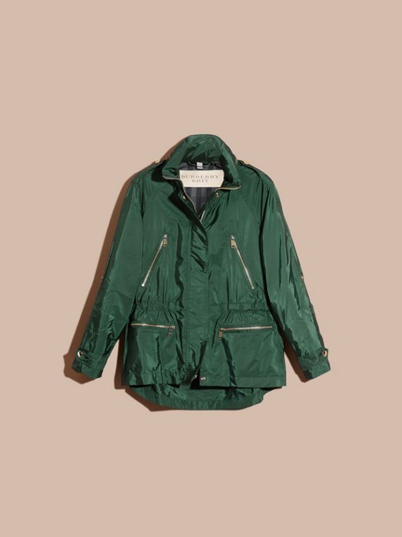Deep bottle green Showerproof Parka Jacket with Packaway Hood Deep Bottle Green - cell image 3