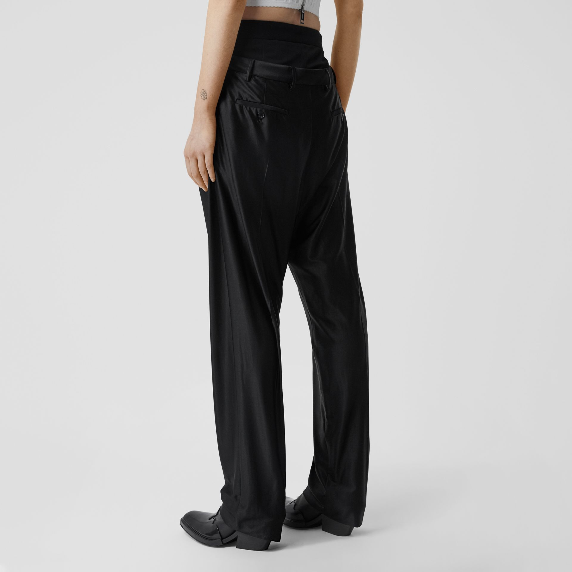 Double-waist Jersey Trousers in Black - Women | Burberry United Kingdom - gallery image 2