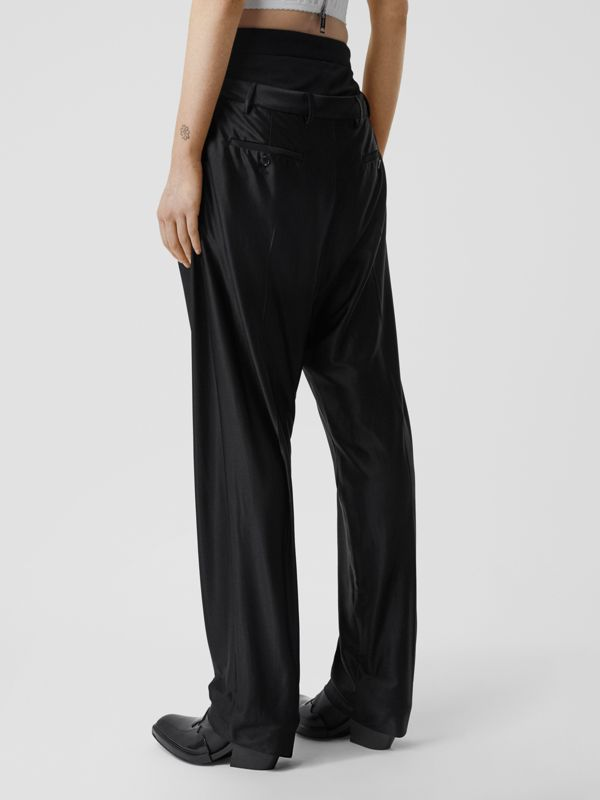 Double-waist Jersey Trousers in Black - Women | Burberry United Kingdom - cell image 2