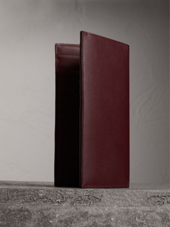 London Leather Continental Wallet in Burgundy Red - Men | Burberry Australia - cell image 2