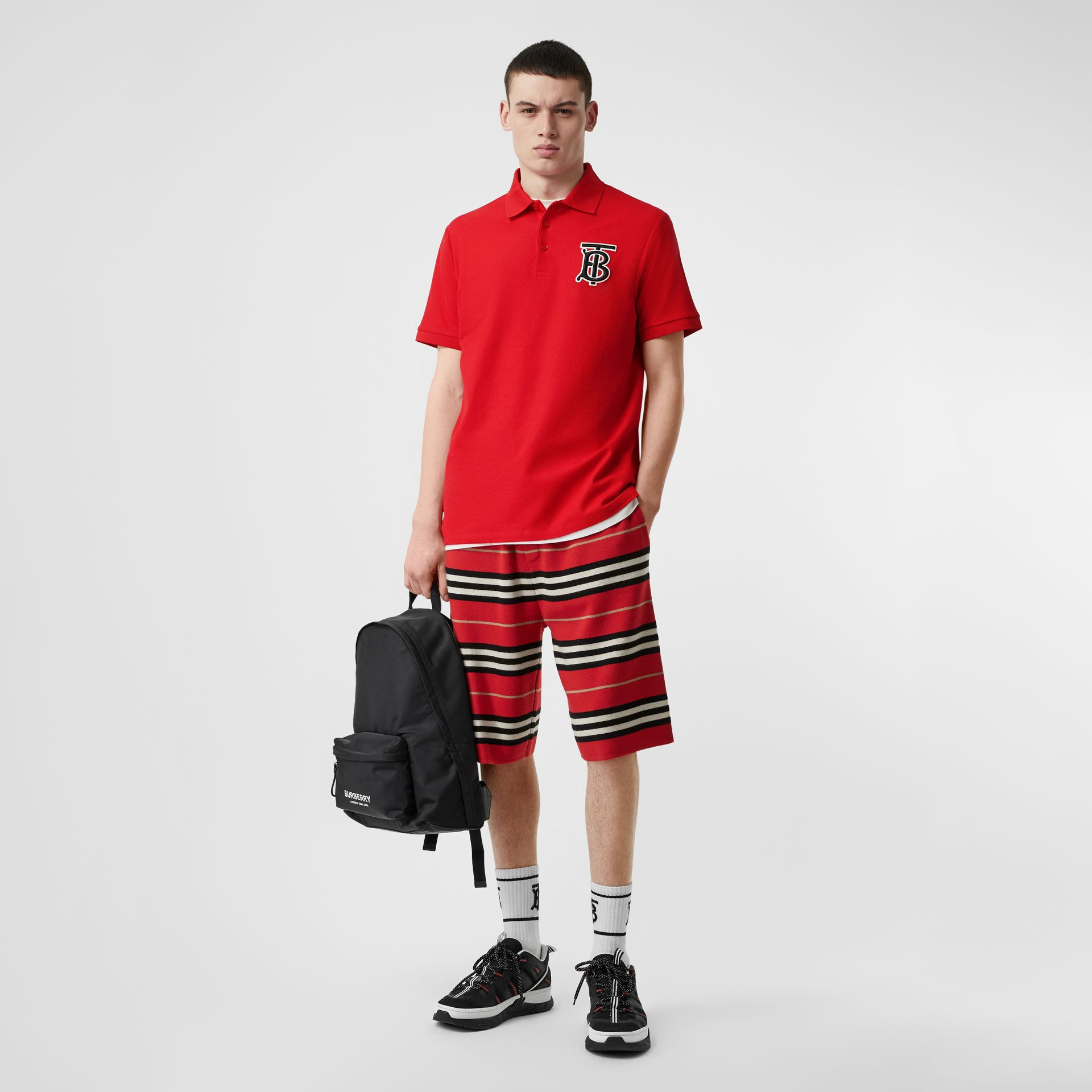 Monogram Motif Cotton Piqué Oversized Polo Shirt in Bright Red - Men | Burberry Australia - gallery image 0