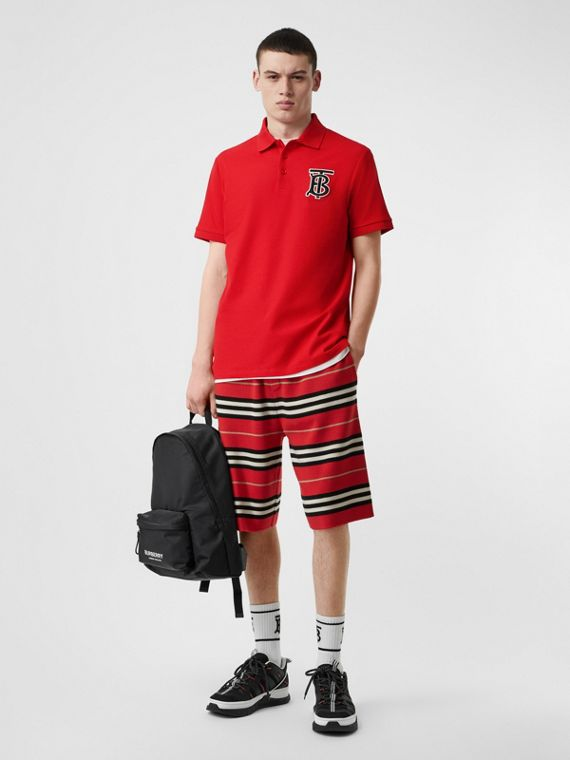 Monogram Motif Cotton Piqué Oversized Polo Shirt in Bright Red