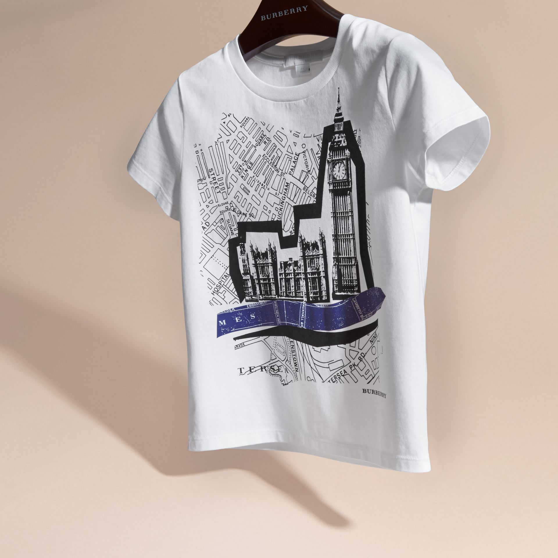 White Big Ben Print Cotton T-shirt - gallery image 3