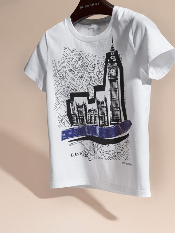 White Big Ben Print Cotton T-shirt - cell image 2