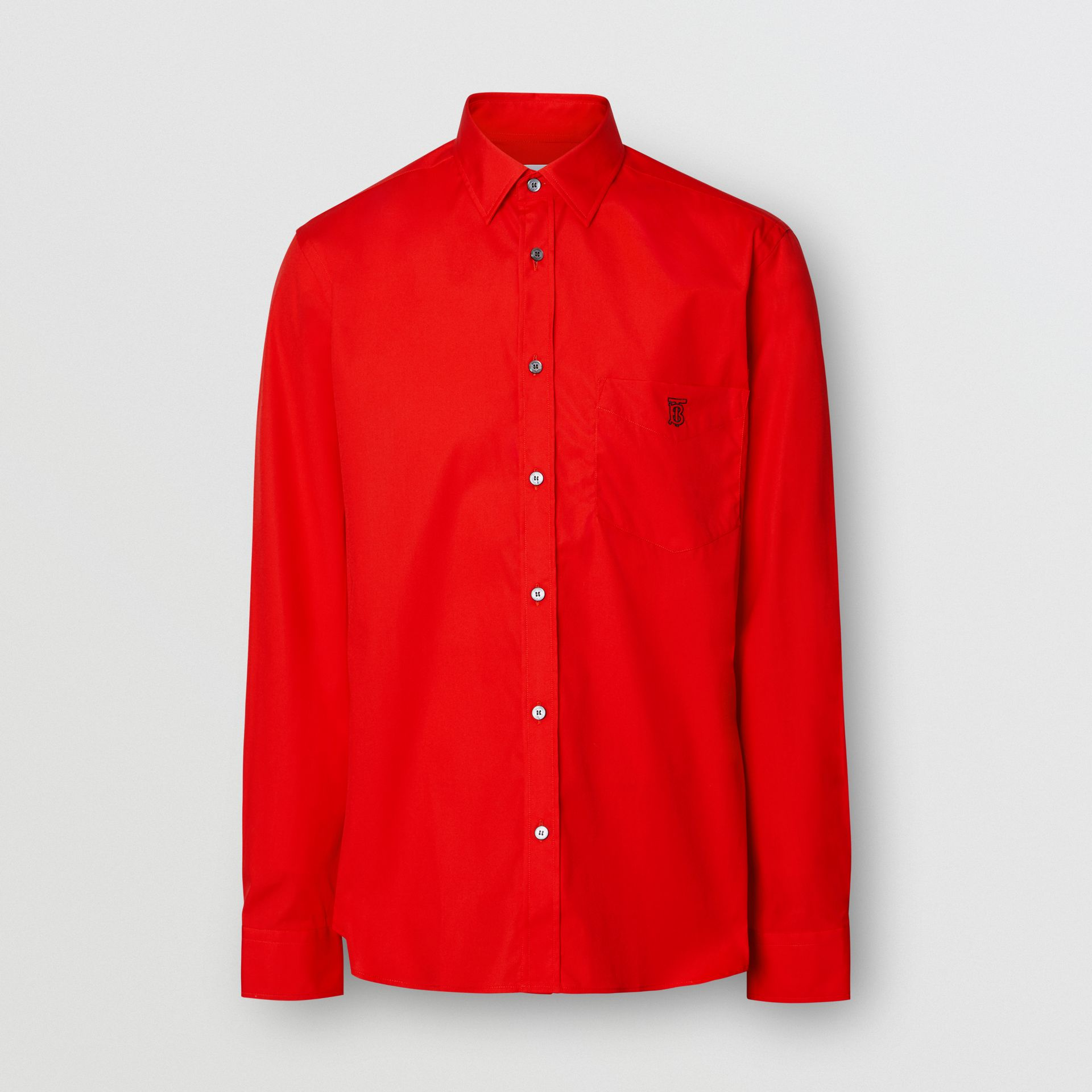 Monogram Motif Stretch Cotton Poplin Shirt in Bright Red - Men | Burberry - gallery image 3