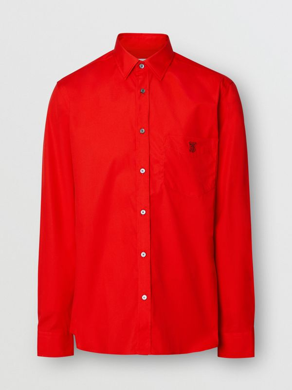 Monogram Motif Stretch Cotton Poplin Shirt in Bright Red - Men | Burberry - cell image 3