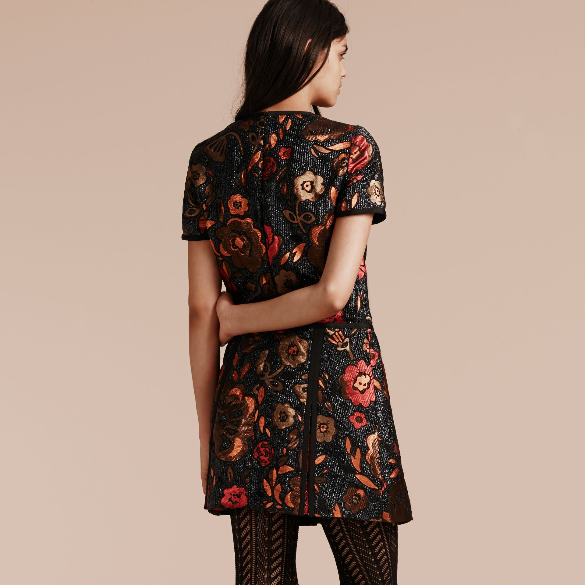 Navy Floral Jacquard T-shirt Dress - gallery image 3