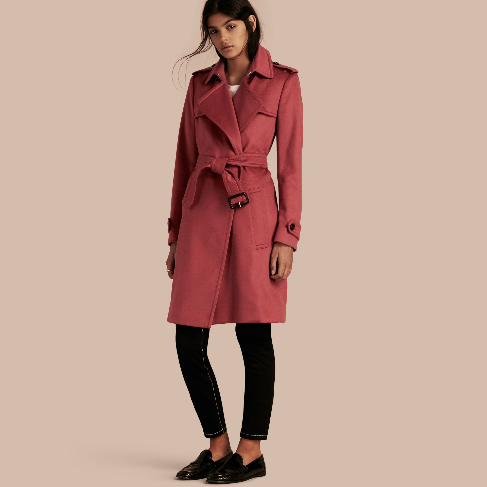 Dusty peony rose Cashmere Wrap Trench Coat Dusty Peony Rose - gallery image 1