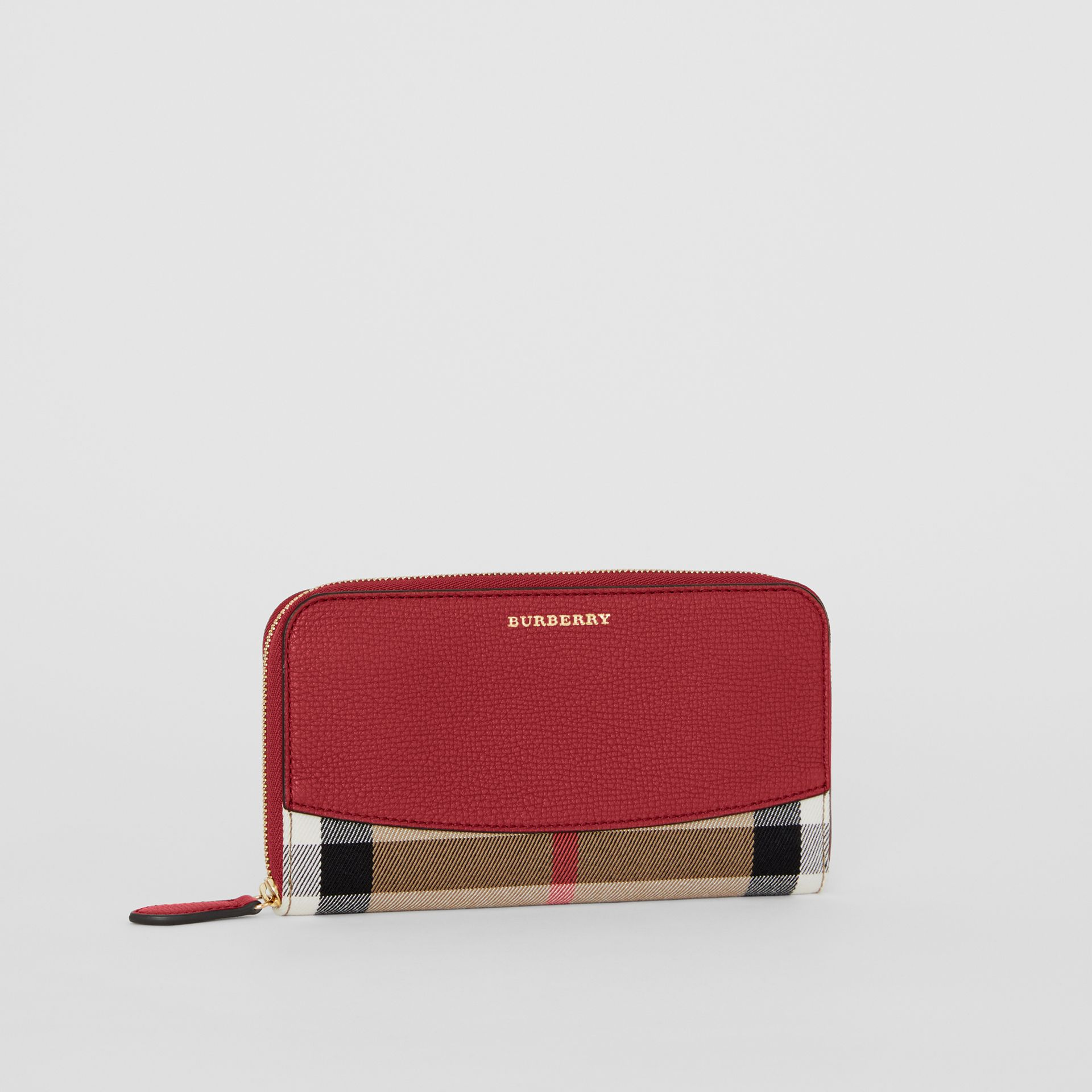 House Check and Leather Ziparound Wallet in Russet Red - Women | Burberry United Kingdom - gallery image 3