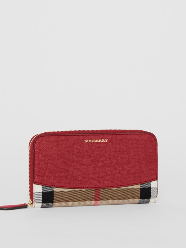 House Check and Leather Ziparound Wallet in Russet Red - Women | Burberry - cell image 3