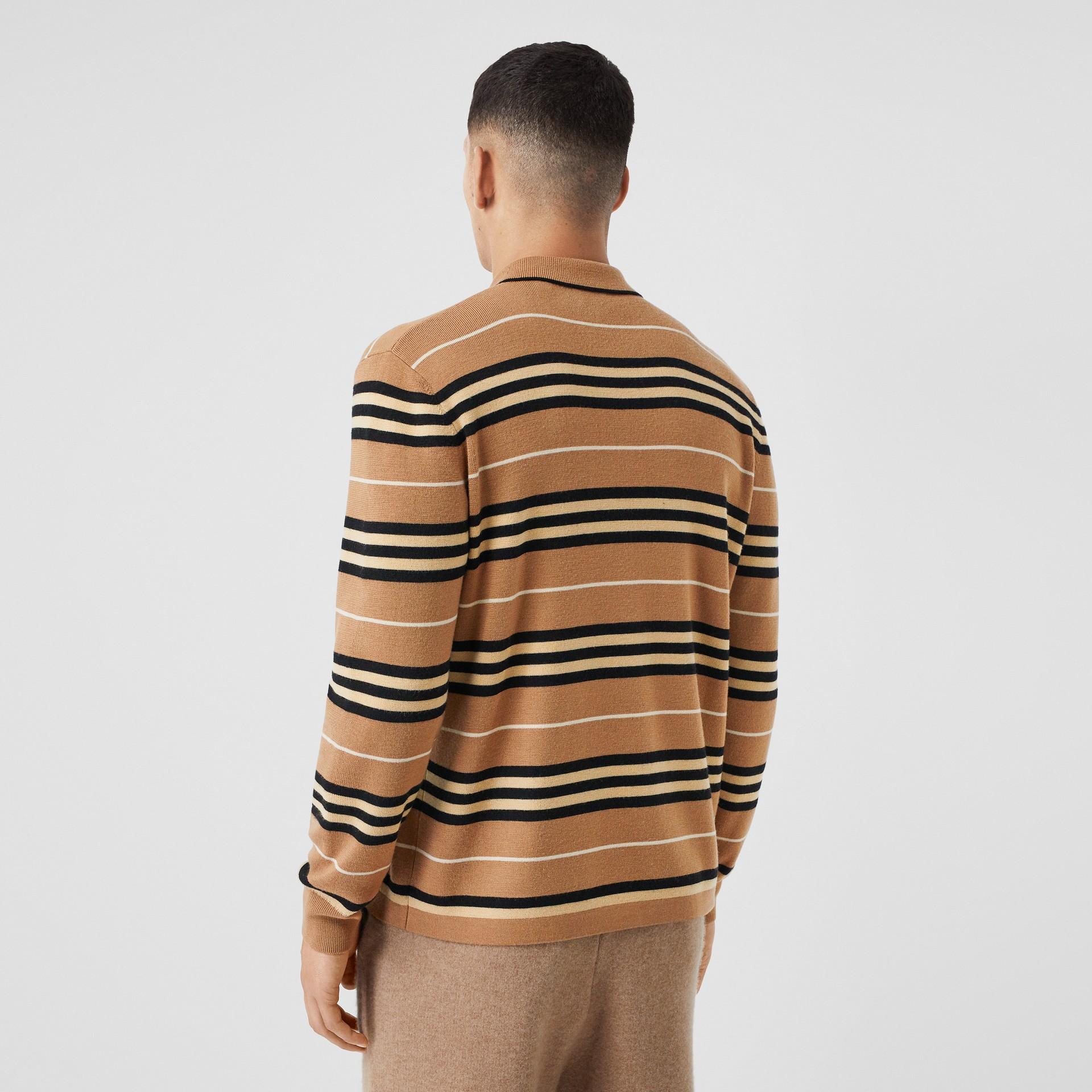Long-sleeve Icon Stripe Merino Wool Polo Shirt in Warm Walnut - Men | Burberry United Kingdom - gallery image 2