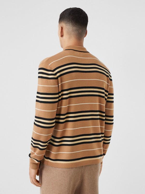Long-sleeve Icon Stripe Merino Wool Polo Shirt in Warm Walnut - Men | Burberry United Kingdom - cell image 2