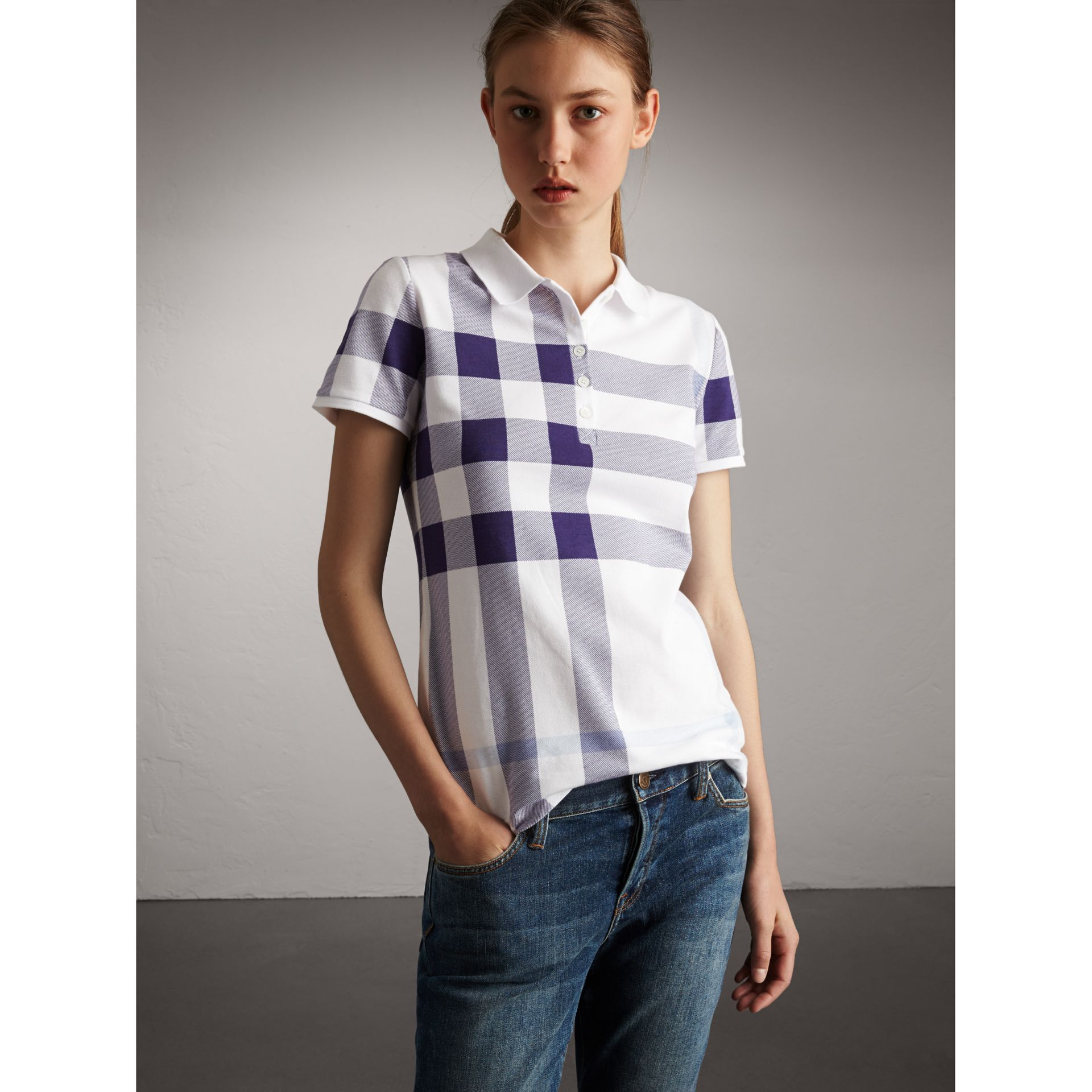 Check Stretch Cotton Piqué Polo Shirt in Pale Blue - Women | Burberry - gallery image 0