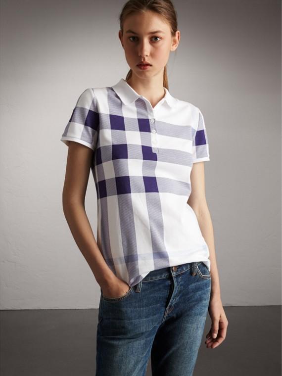 Check Stretch Cotton Piqué Polo Shirt in Pale Blue