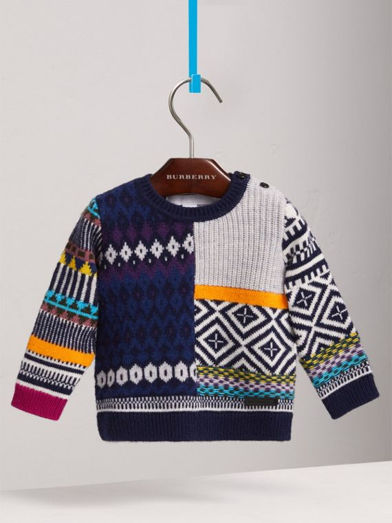 Fair Isle Wool Cashmere Patchwork Sweater in Navy